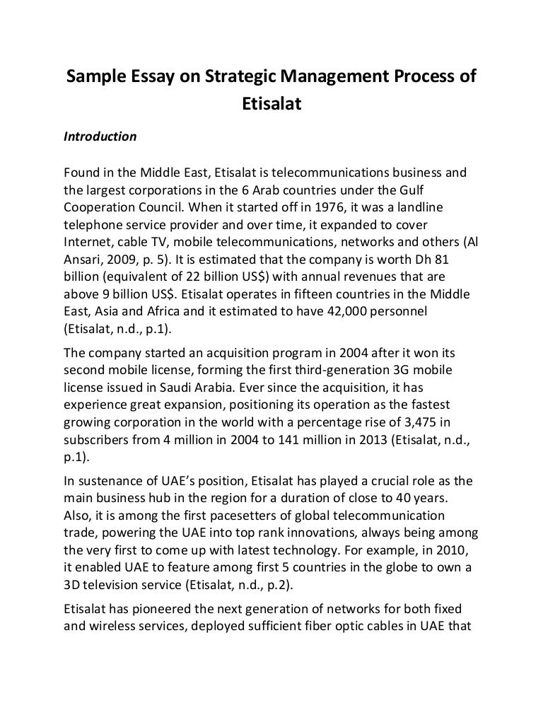 sample essay on strategic management process of etisala