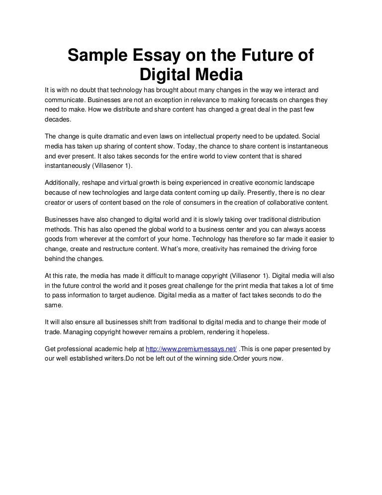 sample essay on the future of digital media
