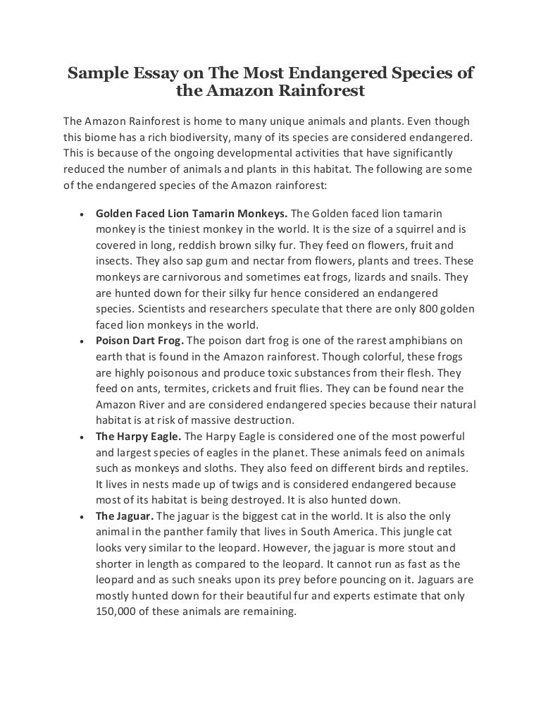 sample essay on the most endangered species of the amazon rainforest