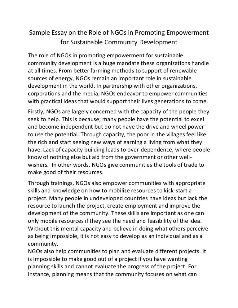 sample essay on the role of ng os in promoting empowerment for sustai