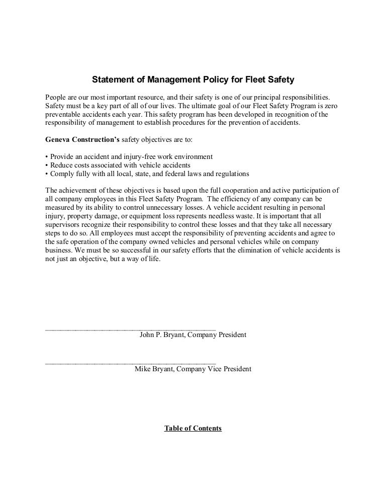 sample fleet safety program