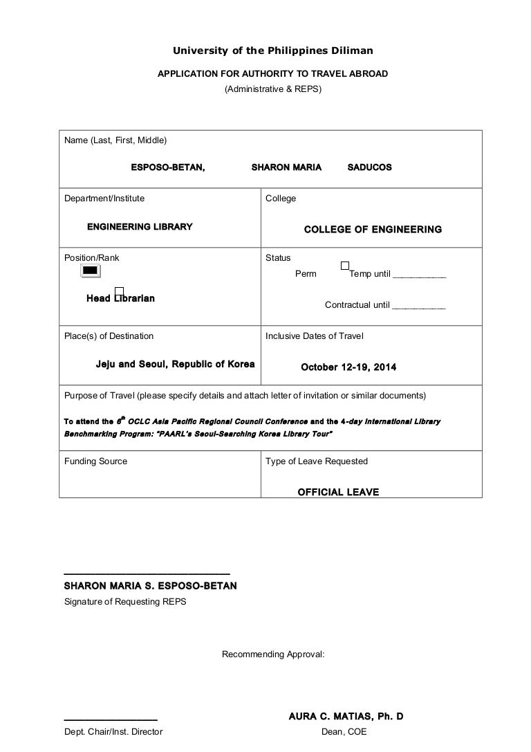 Sample form request for travel authority