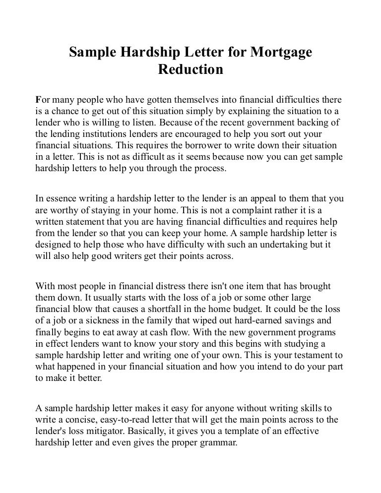 Sample Hardship Letter For Mortgage Reduction