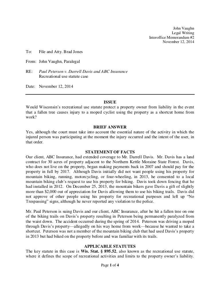 Sample interoffice memorandum