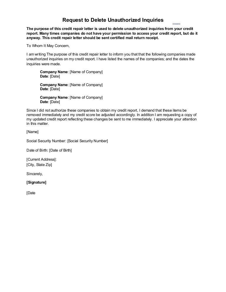 credit inquiry removal letter sample Parlobuenacocinaco