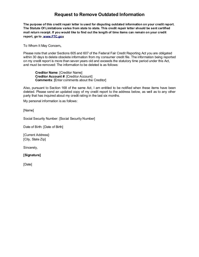 sample letter request to remove outdated information
