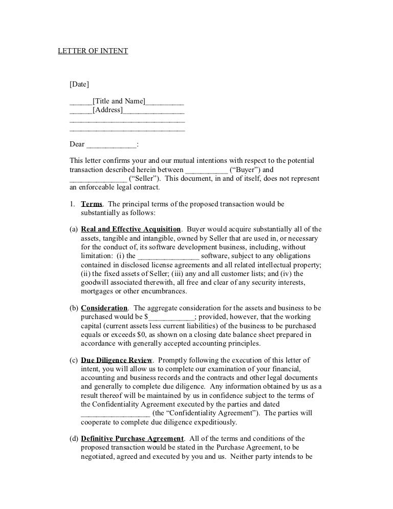 Sample letter of intent – Sample Letter of Intent to Purchase a Business