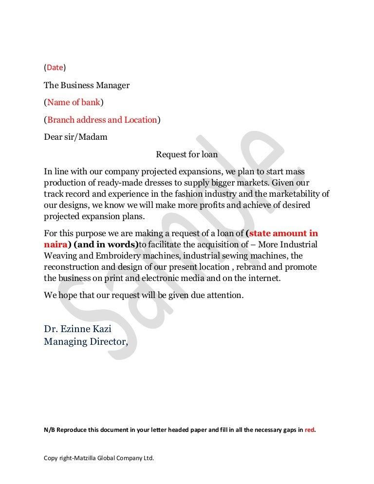 sample loan application letter