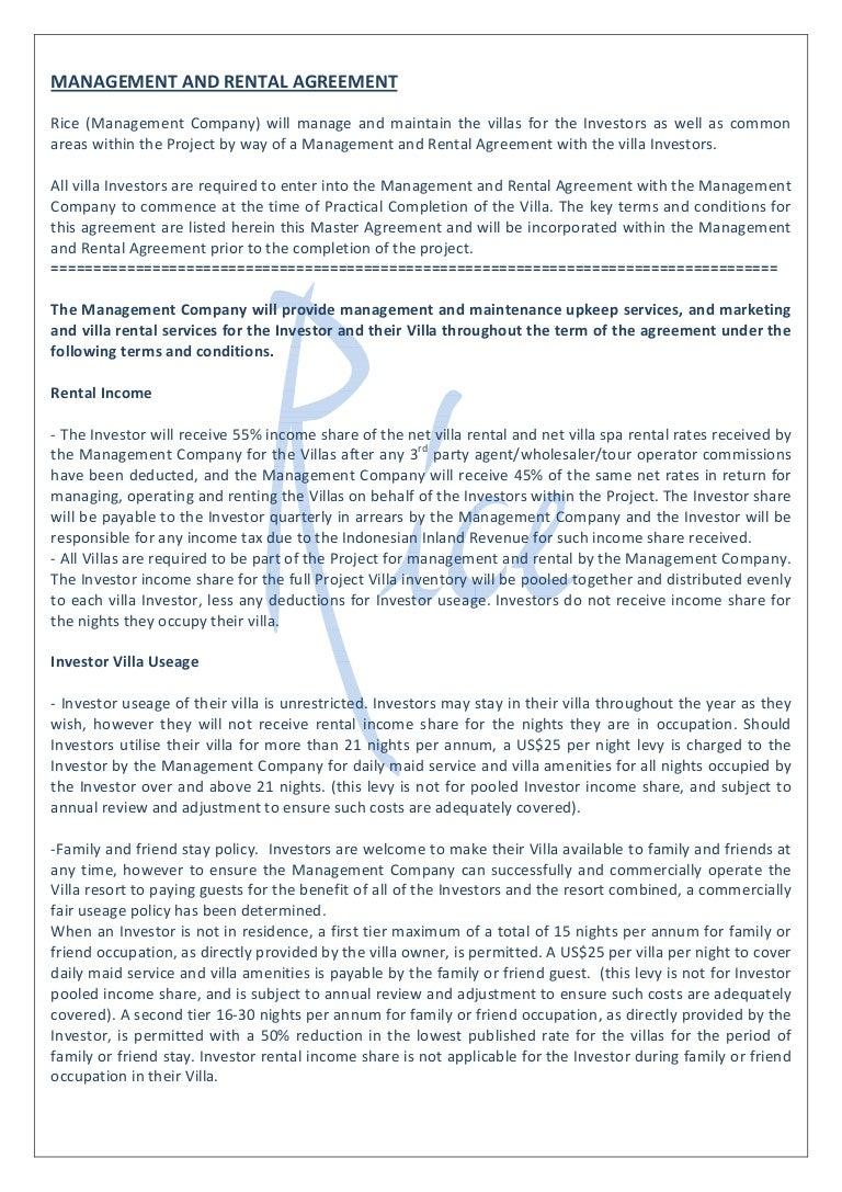 Sample Management Agreement Basic Terms