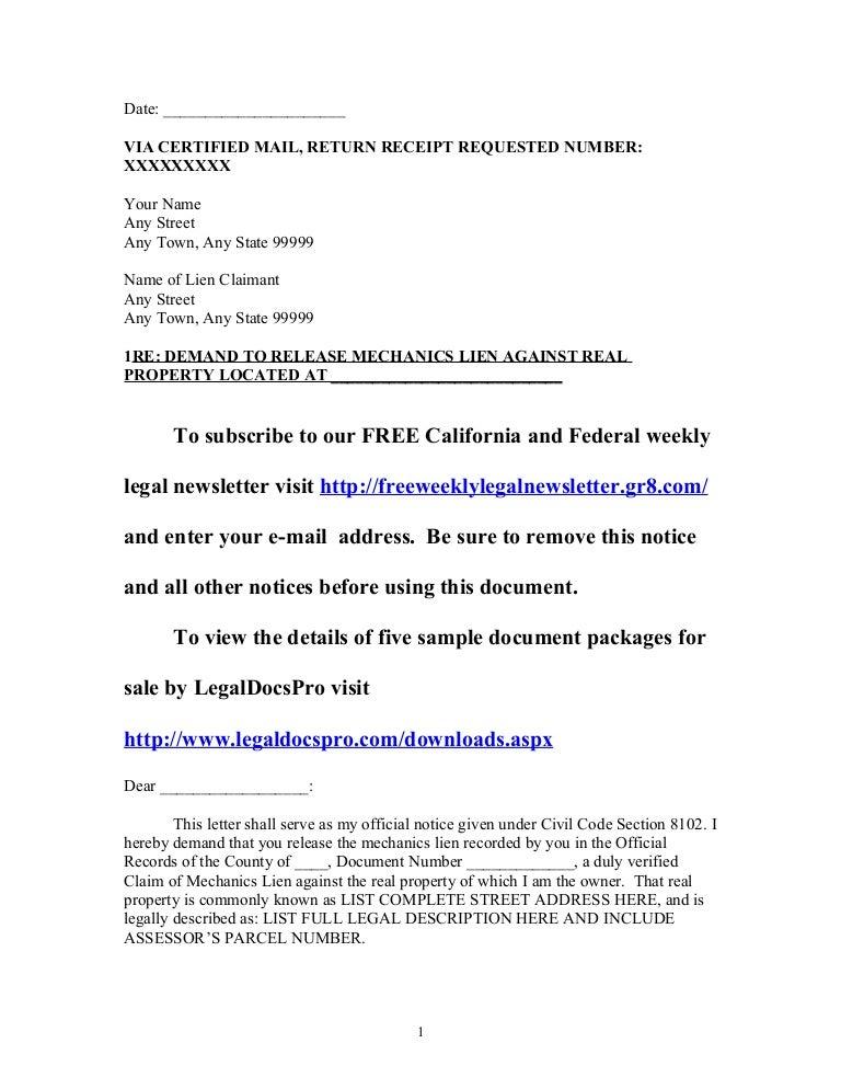 Sample California mechanics lien release demand letter