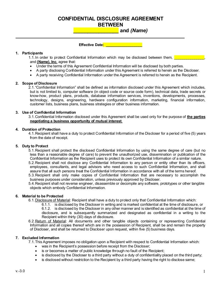 Sample Mutual Non Disclosure Agreement – Confidential Disclosure Agreement