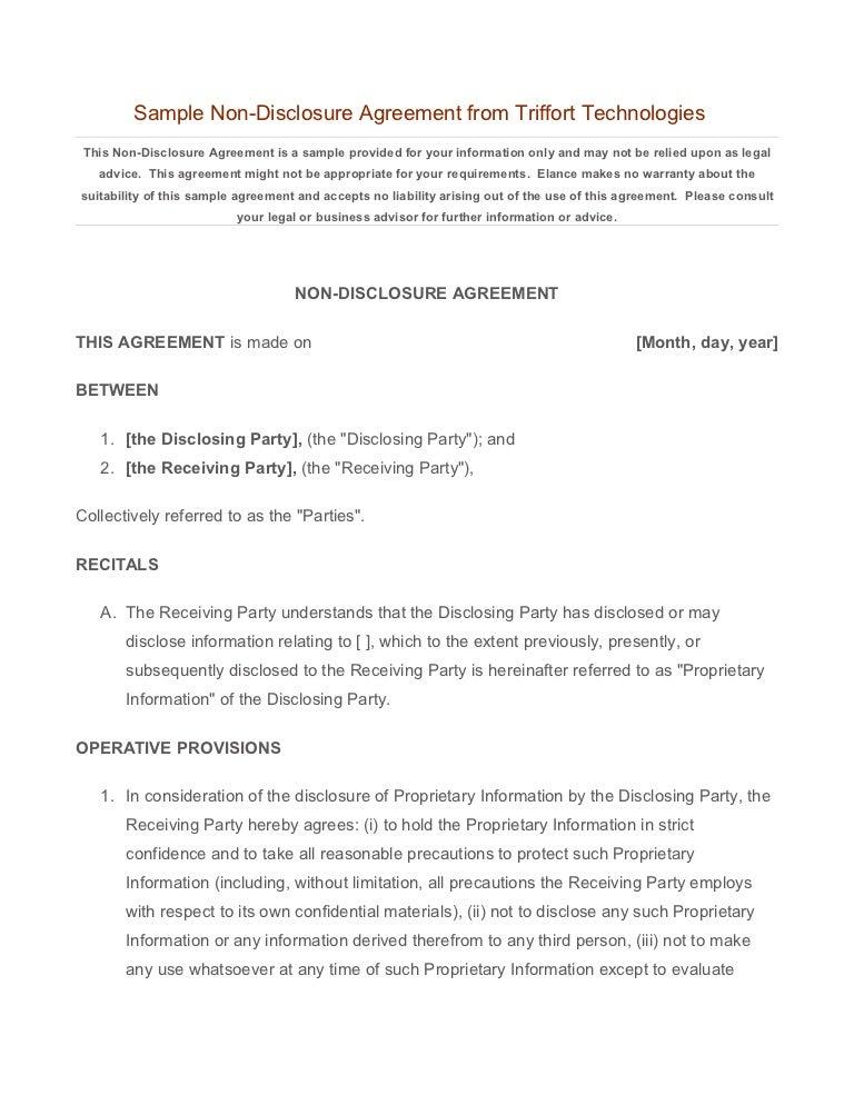 Sample NDA from Triffort Technologies
