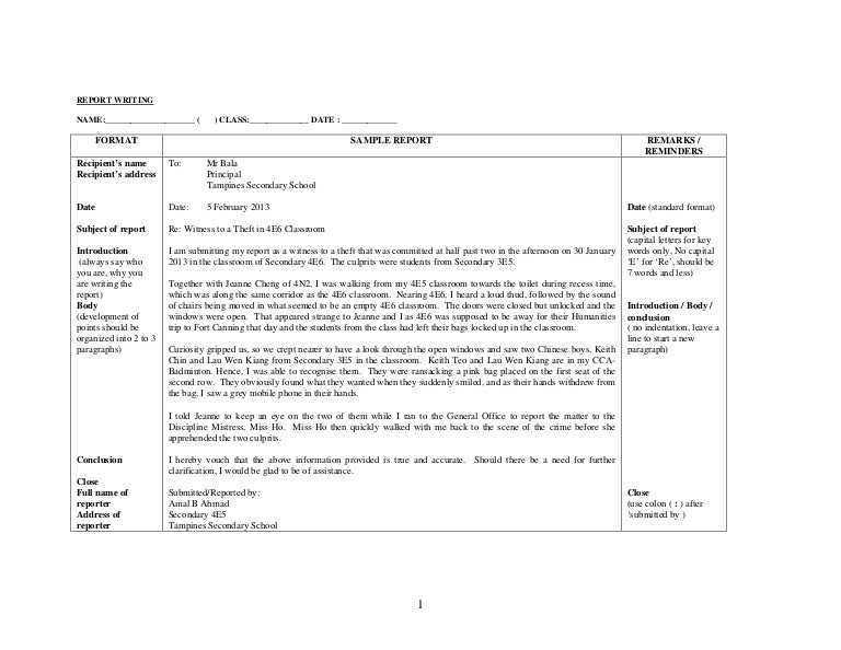 Sample of report of theft