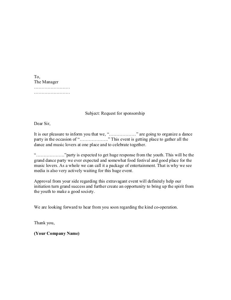 Proposal sample of sponsorship letter – Sample of a Sponsorship Proposal