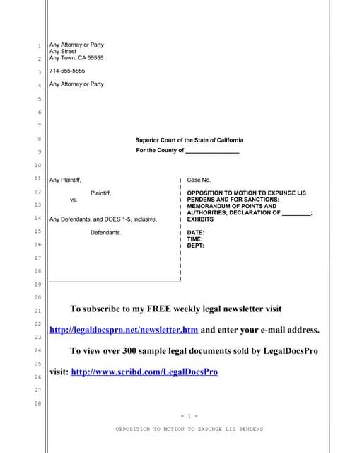 Sample California motion for mandatory dismissal for delay in prosecu…