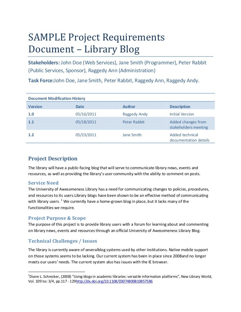 Sample Project Requirements Document