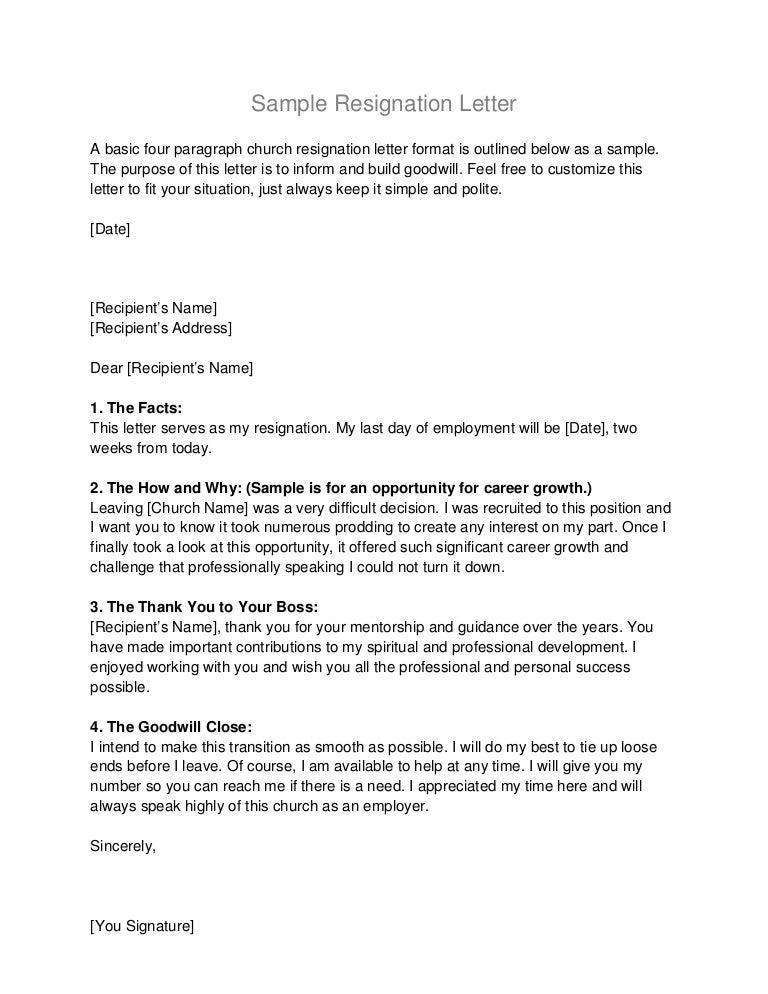 Sample Resignationletter
