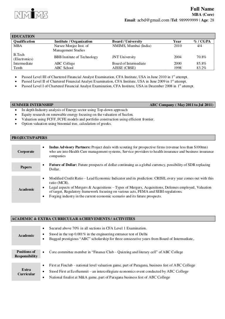 resume Fresher Resume sample resume fresher