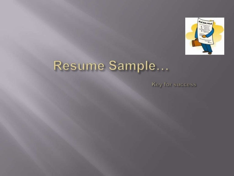 Sample Resume Ppt