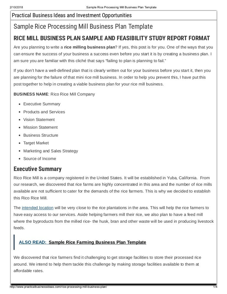 Sample Rice Processing Mill Business Plan Template