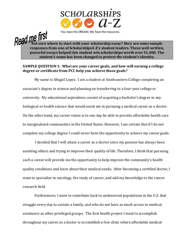 Scholarship Essay Examples Educational Goals For College ...