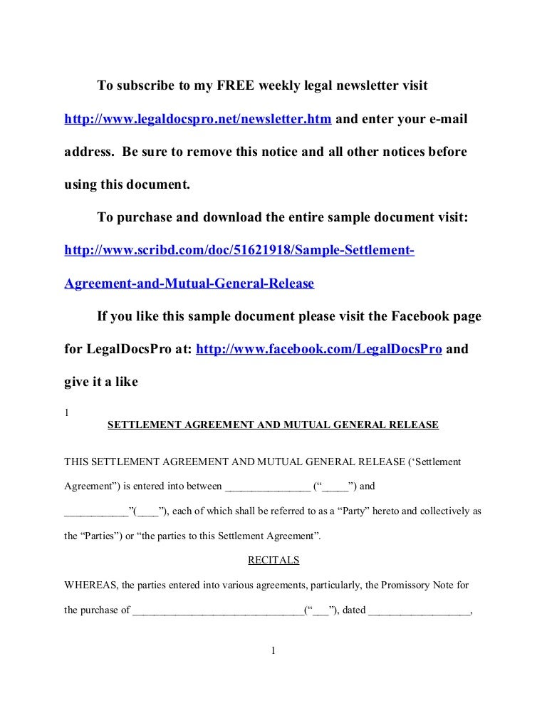 Sample California Settlement Agreement And Mutual General Release