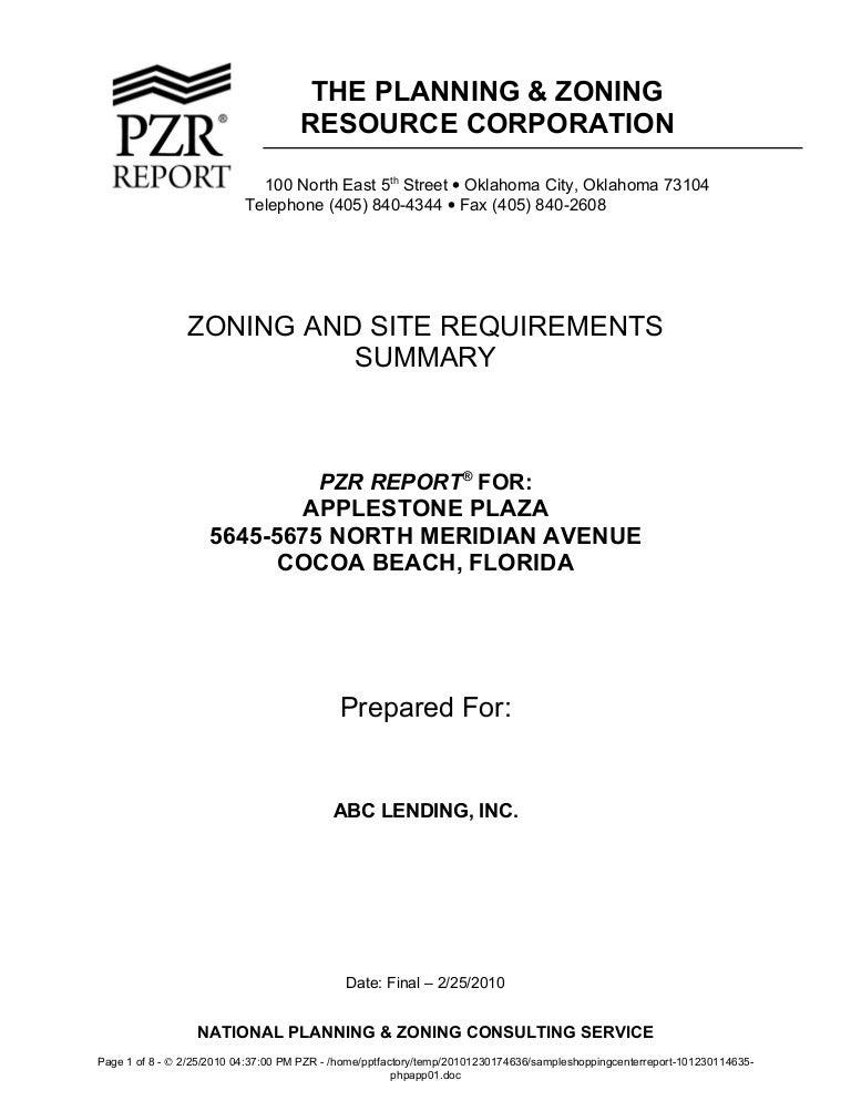 sample shopping center zoning report