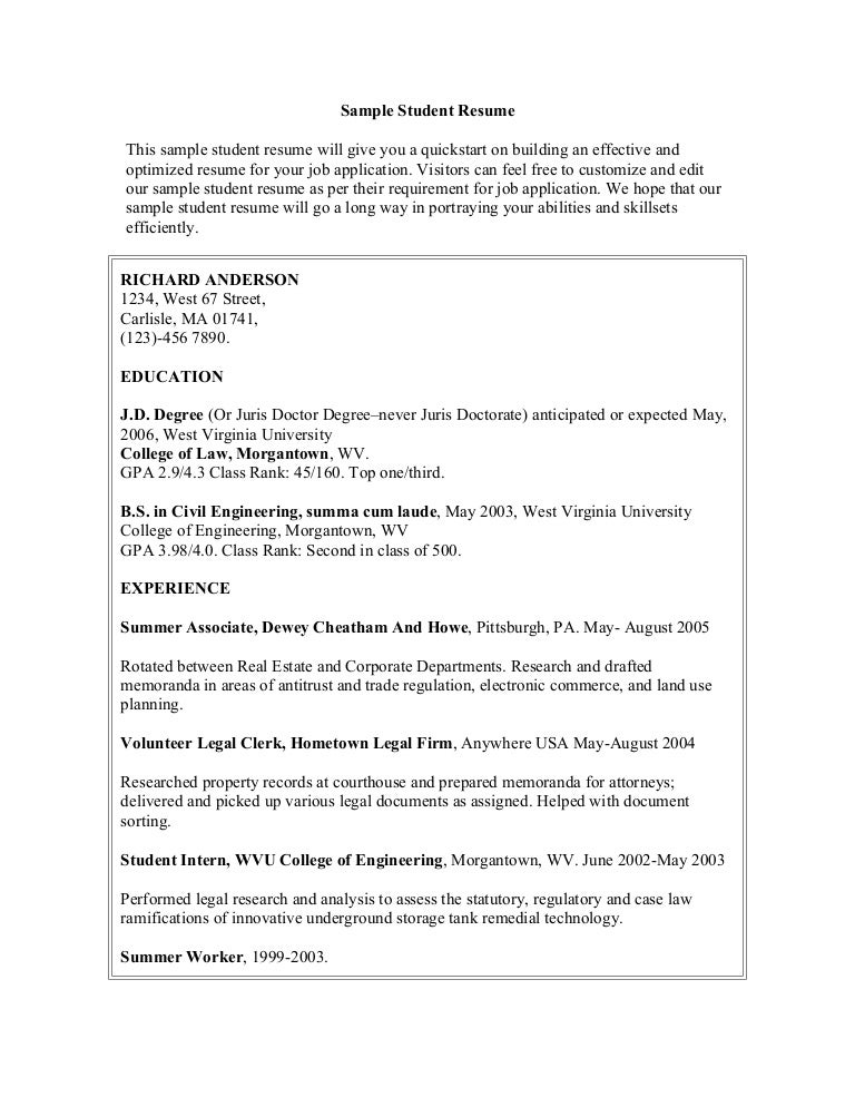 Intern Sample Resume  Sample Resume And Free Resume Templates