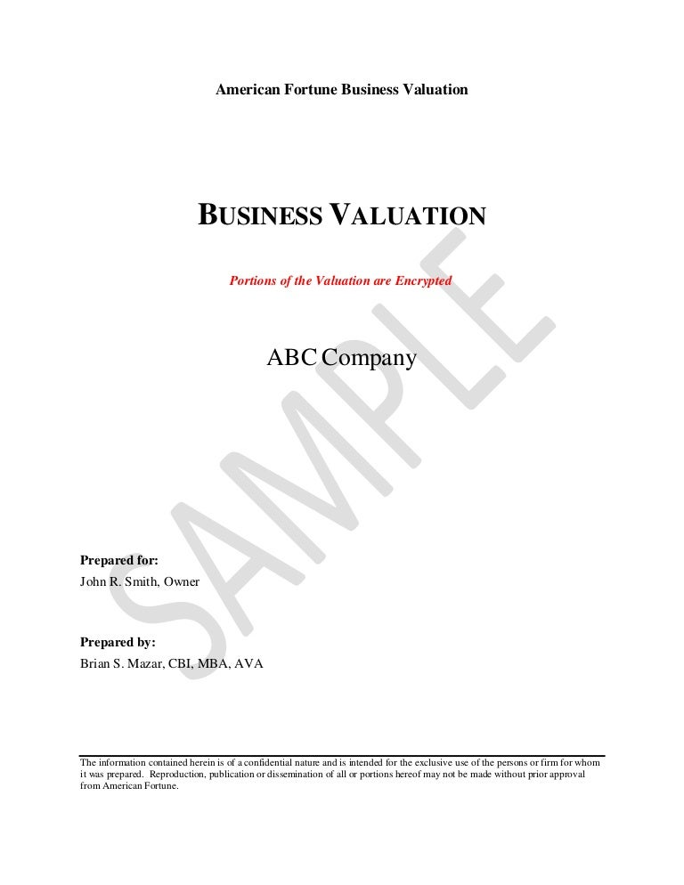 Valuation Report Sample