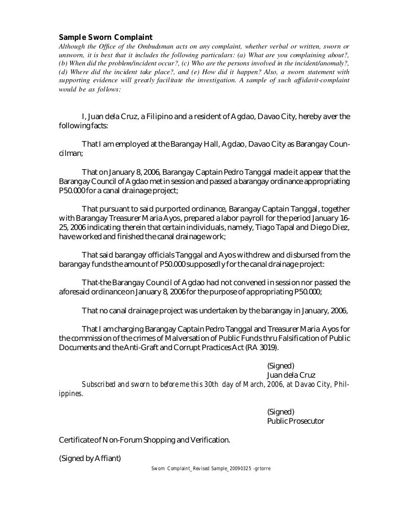 Stunning Example Of Sworn Statement Contemporary  Best Resume