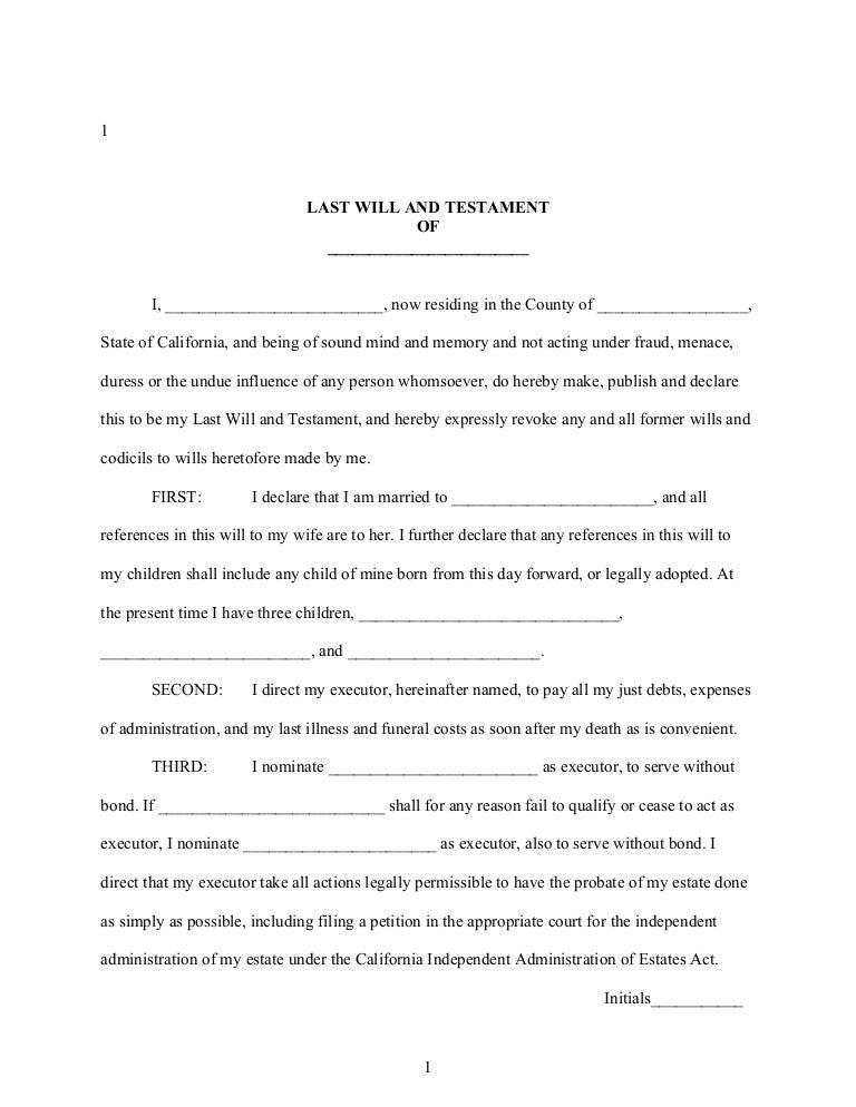 Sample California Last Will And Testament