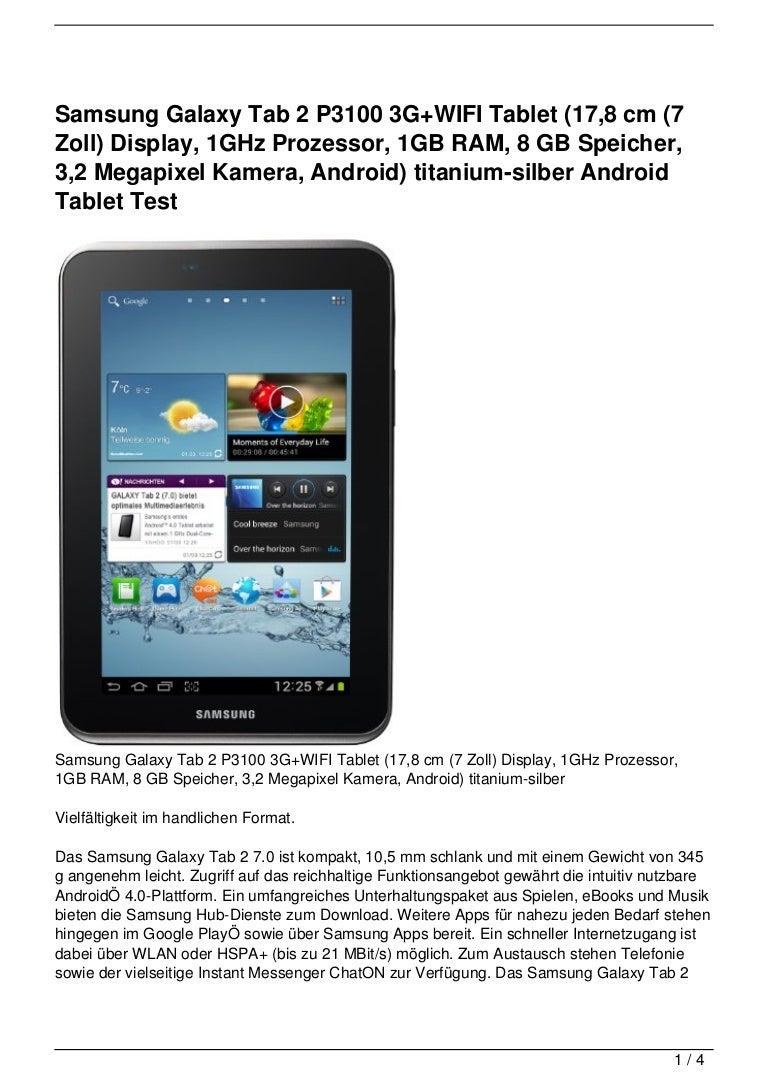 Samsung Galaxy Tab 2 P3100 3g Wifi Tablet  17 8 Cm  7 Zoll  Display