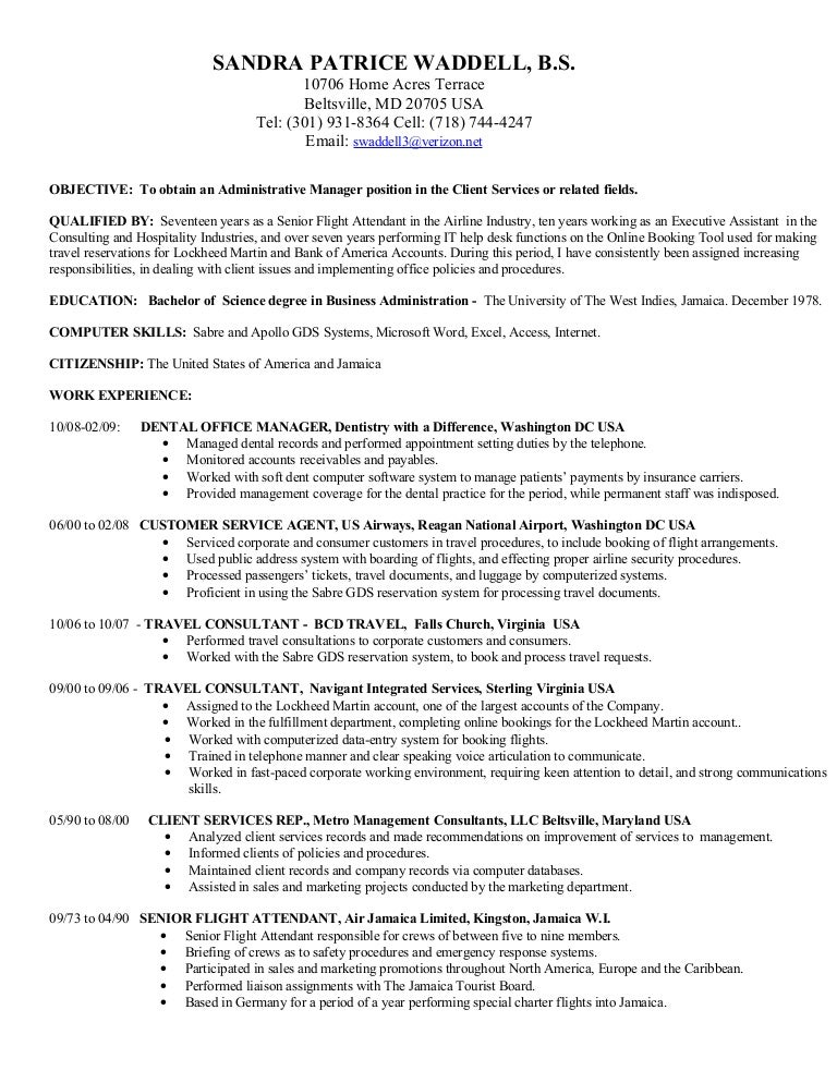 resume for airline ticket agent