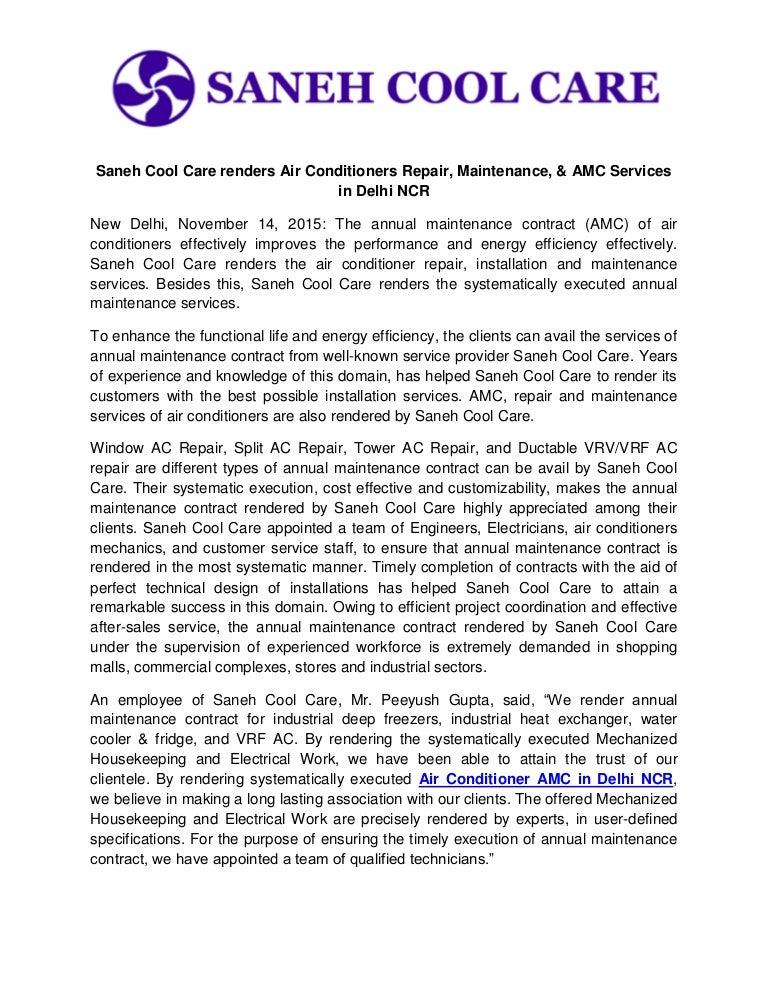 Saneh Cool Care Renders Air Conditioners Repair Maintenance Amc S