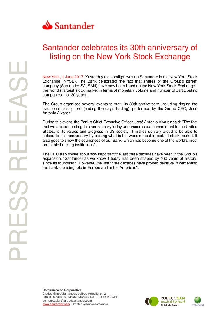6e6d1136 Santander celebrates its 30th anniversary of listing on the New York …