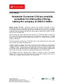Santander Consumer USA successfully completes its initial public offering, valuing the company at USD 8.3 billion