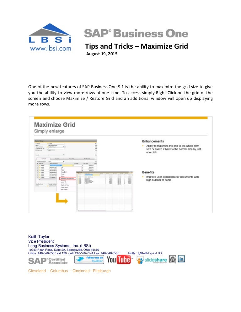SAP Business One Tips and Tricks - Maximize Grid Size