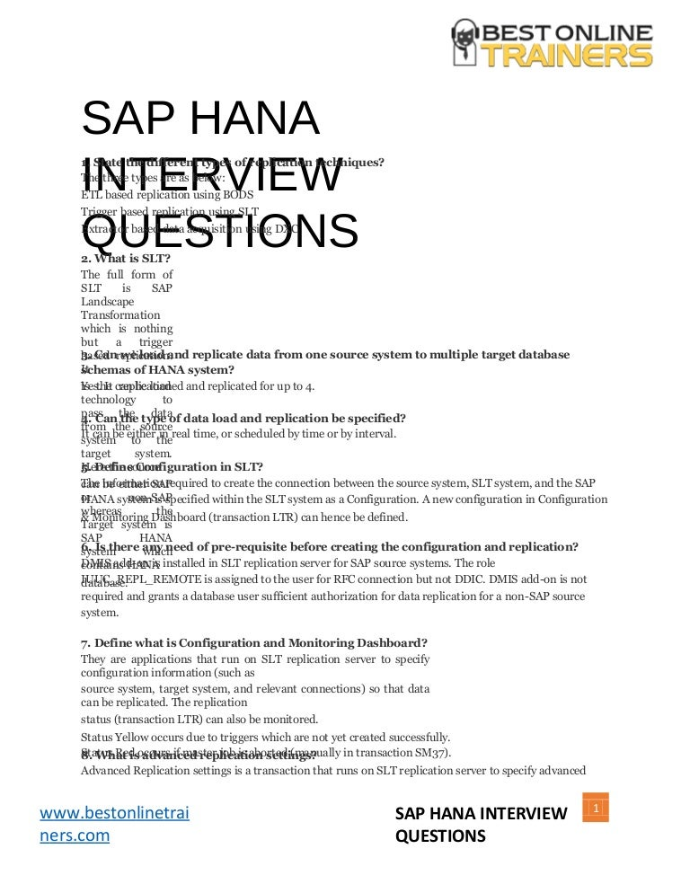 Sap hana-interview-questions-and-answers