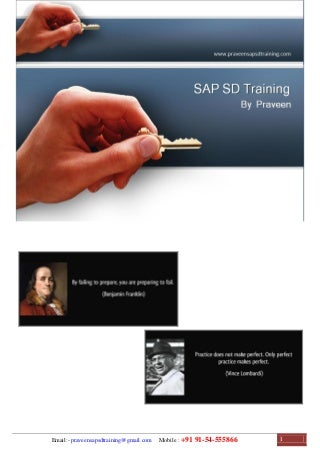SAP SD Training - SAP SD Configuration Guide - SAP SD Study Material
