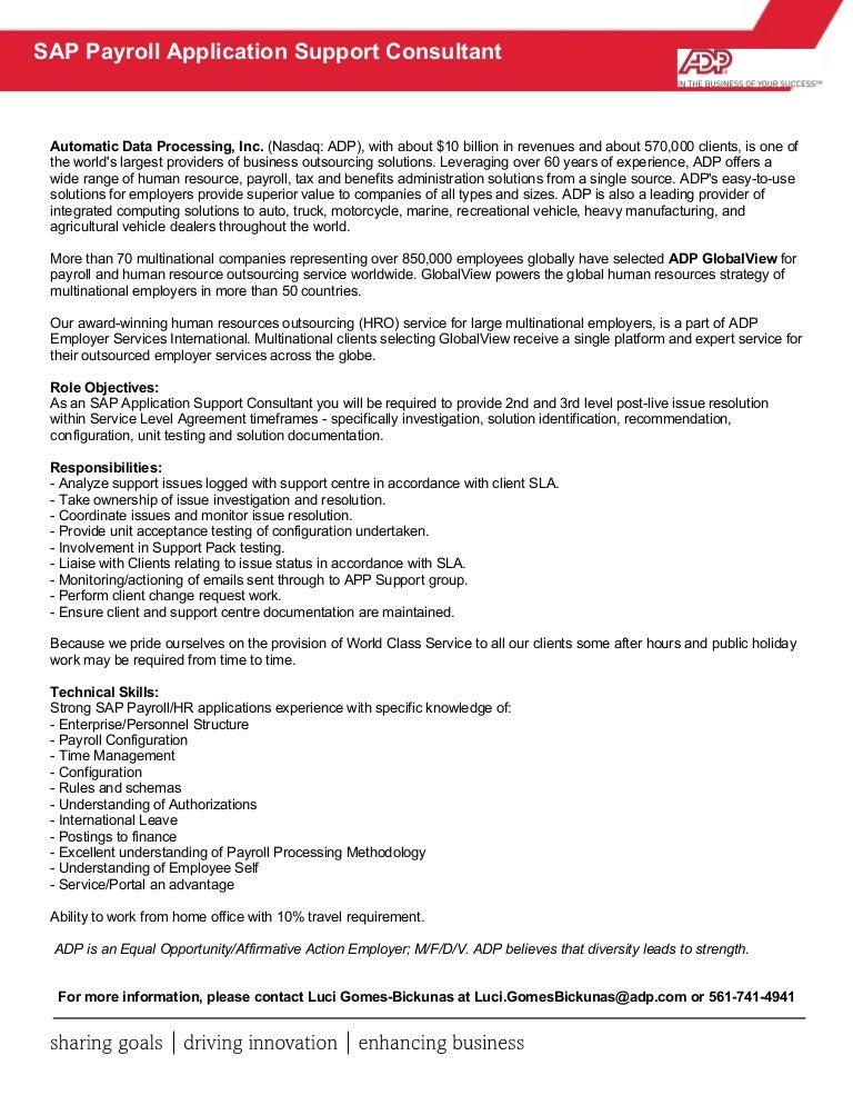 Sap App Support Job Description
