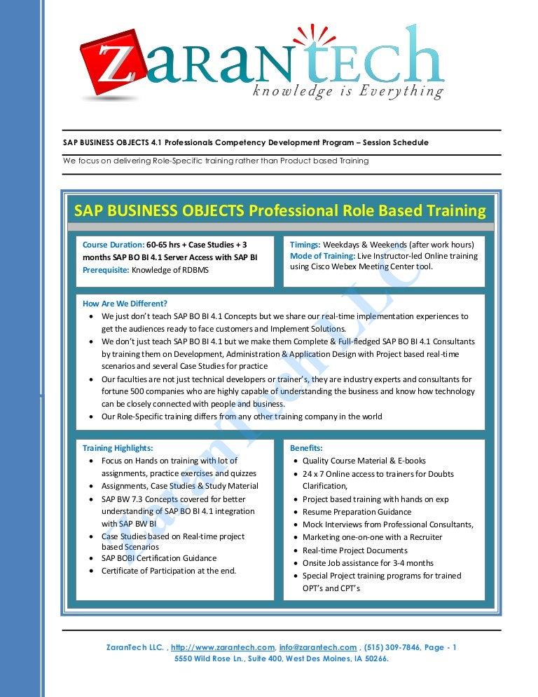 SAP BO BI 41 Training from ZaranTech