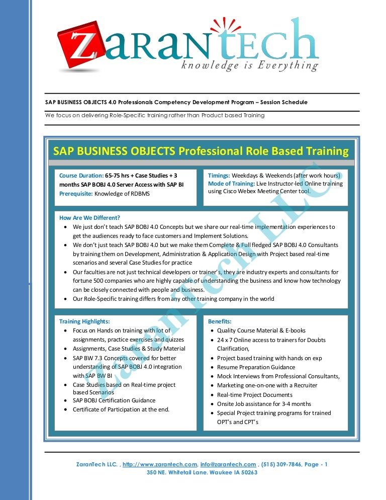 sap business objects bo bi 40 training program zarantech - Business Object Resume