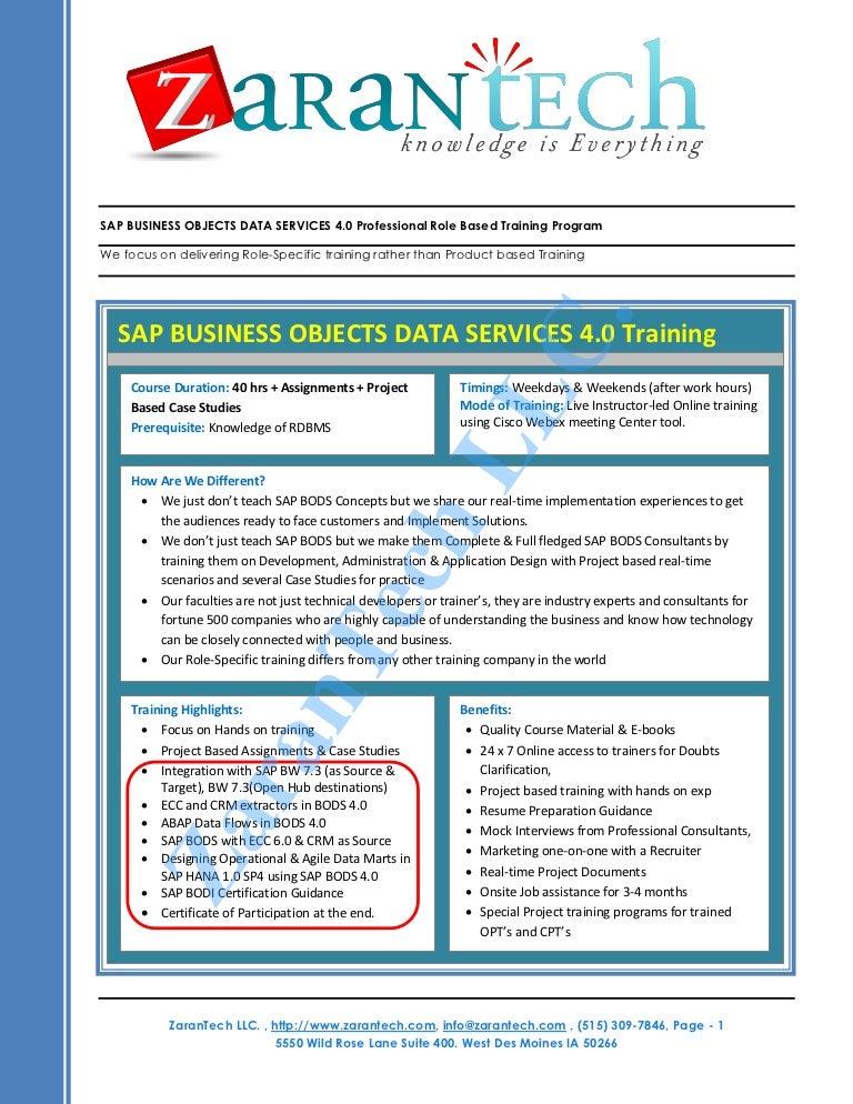 sap bods business objects data services training program