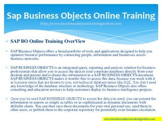 Sap business objects training - SAP BO Online Training