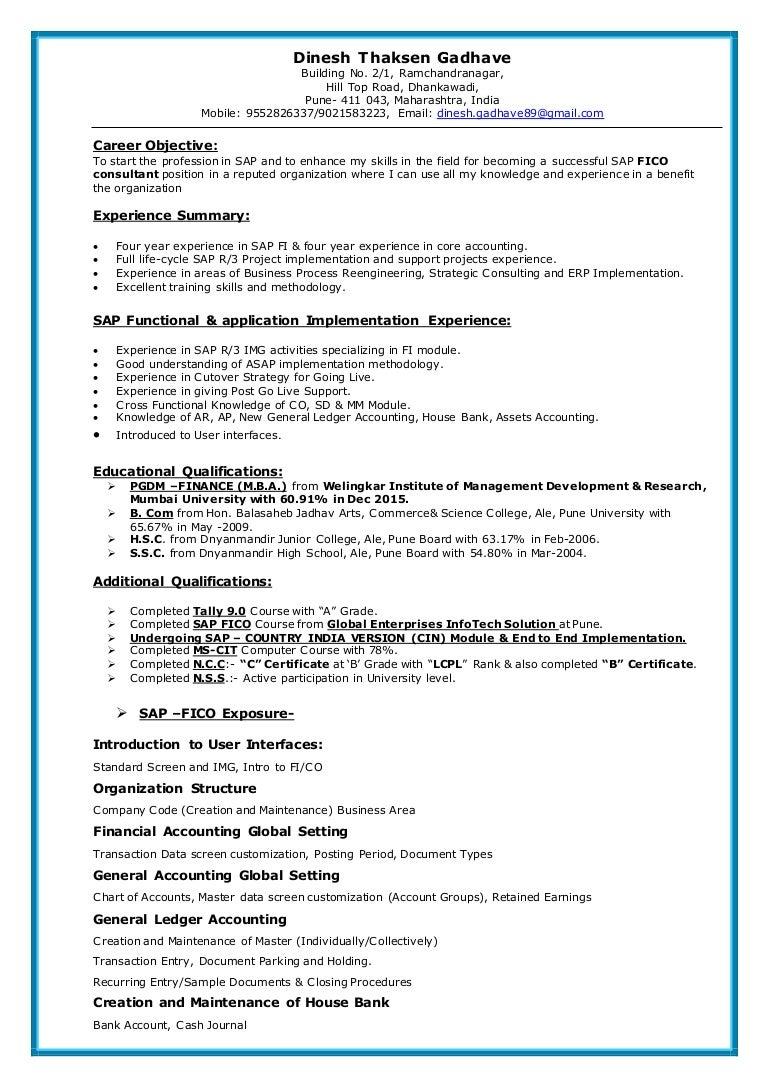 sap fico sample resume 3 years experience sap fico resume sample rh nyustraus org - Sap Pm Functional Consultant Resume