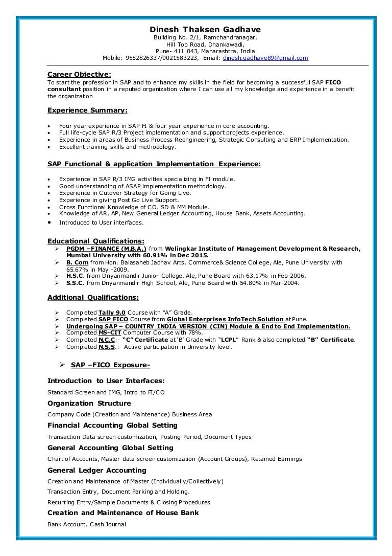 sap fico resume - Sap Fico Resume Sample