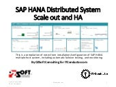 SAP HANA Distributed System Scaleout and HA