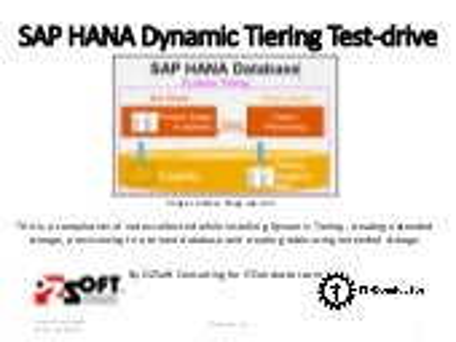 SAP HANA Dynamic Tiering Test-drive