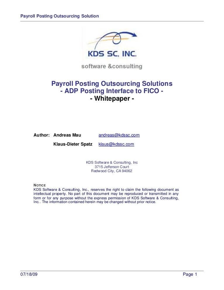 Sap Payroll Posting Outsourcing Solution Whitepaper V1.1