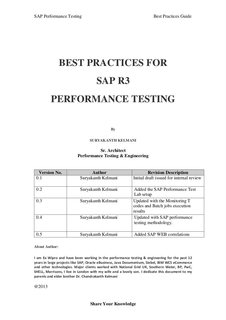SAP Performance Testing Best Practice Guide v1.0